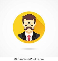 wektor, wąsy, człowiek