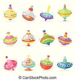 wektor, whirlabout, komplet, barwny, dzieciaki, dziecinny, górny, whipping-top, odizolowany, ilustracja, biały, prządka, przędzenie, zabawka, gra, tło, kręćcie, brzęczący, interpretacja, whirligig, rysunek