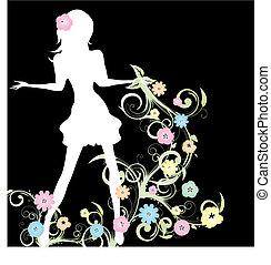 wektor, wiosna, ilustracja, tło, czarna dziewczyna, kwiaty, curlicue