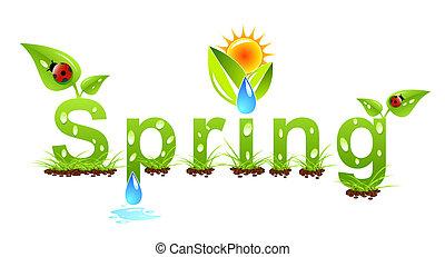 wektor, wiosna, pojęcie, słowo