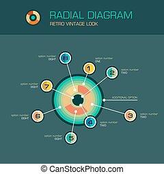 wektor, wskazówki, diagram, belka, infographic, szablon, promieniowy, okrągły