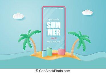 wektor, wyspa, style., sprzedaż, smartphone, papier, lato, cięty, chorągiew, sale., ilustracja, święto