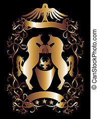 wektor, złoty, sztuka, tarcza, orzeł