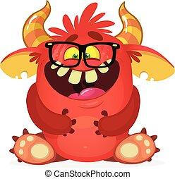 wektor, zabawny, rysunek, monster., szczęśliwy, ilustracja