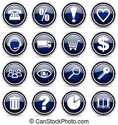 wektor, zakupy, srebro, icons., metaliczny