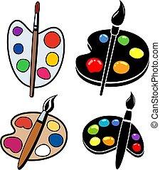 wektor, zbiór, kropelki, drewniany, palety, malować, sztuka, szczotki