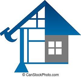 wektor, zbudowanie, projektować, szablon, dom, logo