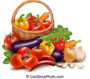 wektor, zdrowy, warzywa, ilustracja, jadło., basket., tło, świeży