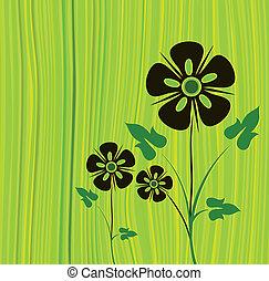wektor, zielony, kwiat, tło