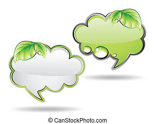 wektor, zielony, leaf., chorągiew, chmura