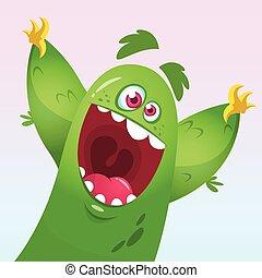 wektor, zielony potwór, rysunek