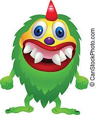 wektor, zielony potwór