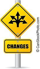 wektor, zmiany, na przodzie, droga znaczą