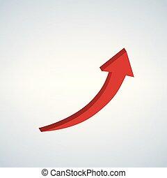wektor, znak, do góry strzała, czerwony