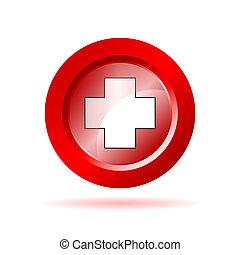 wektor, znak, krzyż, ilustracja, czerwony