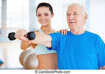 well!, fizyczny, klub, terapeuta, zdrowie, samica, porcja, człowiek, radosny, stosowność, senior, ty