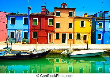 wenecja, burano, kanał, barwny, wyspa, fotografia, italy., długi, domy, punkt orientacyjny, łódki, ekspozycja