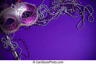 wenecjanin, tło, purpurowy, albo, mardi-gras, maska