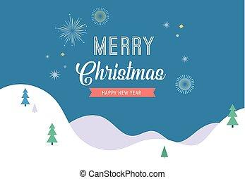wesoły, chorągiew, powitanie, kraina cudów, tło, minimalistic, kartka na boże narodzenie, zima