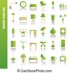 wewnętrzny, komplet, zielony, ikony