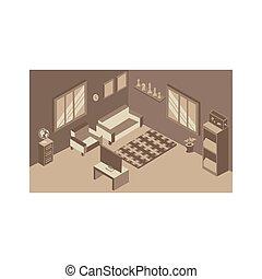 wewnętrzny, pokój, żyjący, dom, isometric
