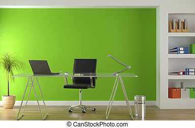 wewnętrzny, zielony, nowoczesny, projektować, biuro