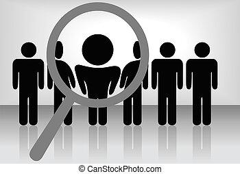 wgląda, znajduje, zatrudnienie, etc, &, rewizja, szkło, powiększający, osoba, typować, people:, kreska, najem, selects, albo, uznanie, promocja