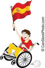 wheelchair, bandera, miłośnik, sport, kibic, hiszpania