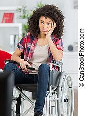 wheelchair, znudzony, dziewczyna, upośledzony
