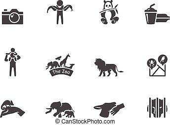 white., ikony, &, czarnoskóry, ogród zoologiczny