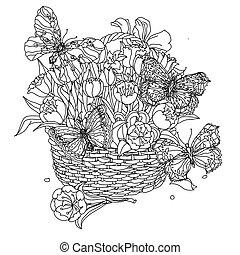 white., ręka, czarnoskóry, rysunek, zentangle, element., mandala., kwiat