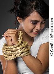 wiązany, istota, związać, kobieta, do góry, siła robocza, obrażony