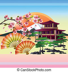 wiśnia, -, japończyk, drzewo, wektor, sakura, tło