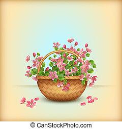 wiśnia, wiosna, powitanie, wiklinowy kosz, kwiaty, karta