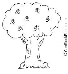 wiśniowe drzewo, szkic