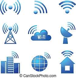 wi-fi, komplet, połyskujący, ikony