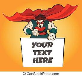wiadomość, superhero, deska