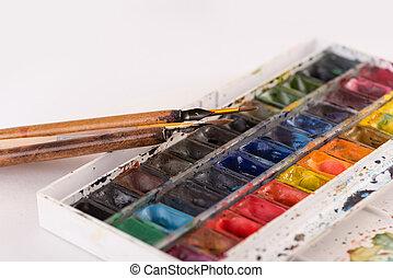 wiadra, malować, wizerunek, szczotki, odizolowany