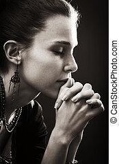 wiara, kobieta, -, modlitwa, zakon