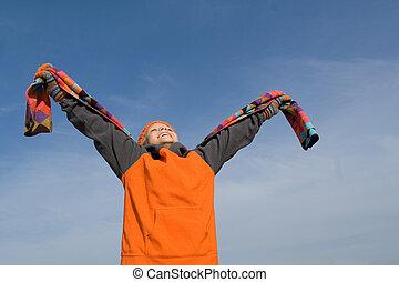 wiara, podniesiony, -, do góry, herb, patrząc, dziecko, szczęśliwy
