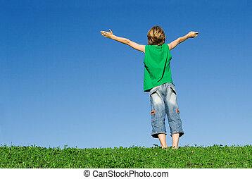 wiara, podniesiony, dzieciaki, chrześcijanin, radość, herb, szczęśliwy