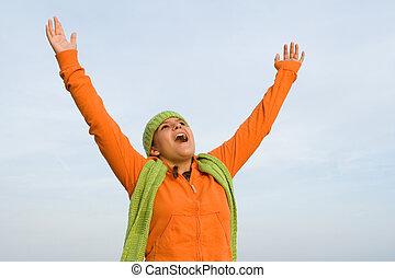wiara, podniesiony herb, chwalić, śpiew, albo, koźlę