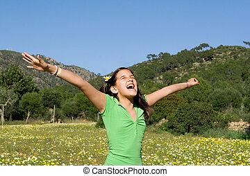 wiara, podniesiony, herb, rozkrzyczany, chwalić, dziecko, śpiew, albo