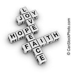 wiara, pokój, miłość, radość, nadzieja