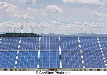wiatr, roślina, photovoltaic, moc, poduszeczka