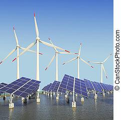 wiatr, słoneczny, turbina, poduszeczki, energia