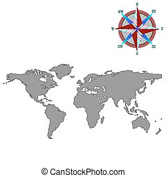 wiatr, szary, róża, światowa mapa