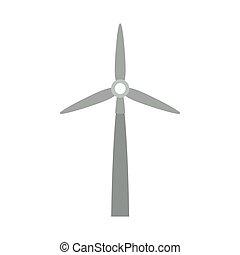 wiatr, szary, sylwetka, dostarczcie energii elektrycznej generator
