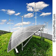 wiatr, turbi, słoneczny, poduszeczki, energia