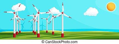 wiatr uprawiają, drzewa., pola, zielony